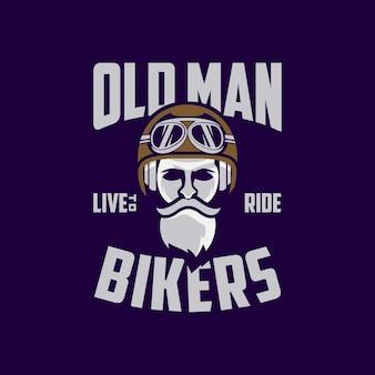Design de logotipo de velho motociclista