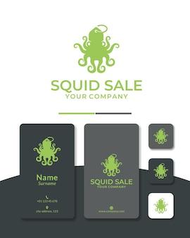 Design de logotipo de venda de polvo ou compra de polvo para restaurante e peixaria