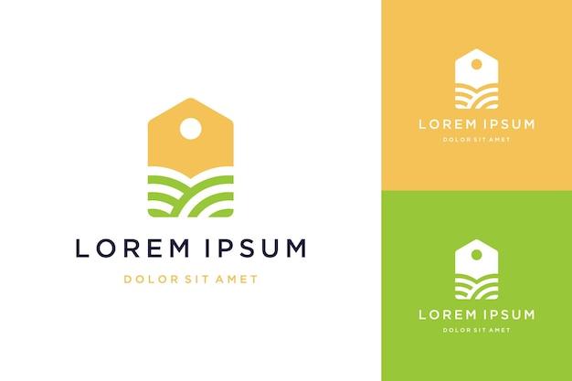 Design de logotipo de vendas de terrenos ou etiquetas de preços com terrenos