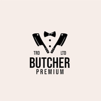 Design de logotipo de vetor de açougueiro mestre premium