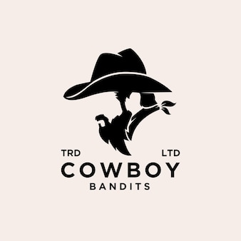 Design de logotipo de vetor de bandidos de caubói premium