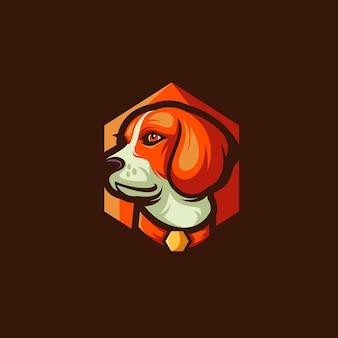 Design de logotipo de vetor de cachorro beagle