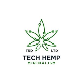 Design de logotipo de vetor de cânhamo com tecnologia premium