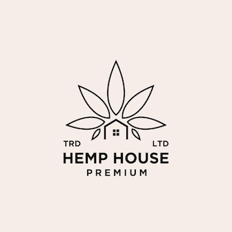 Design de logotipo de vetor de casa de cânhamo premium