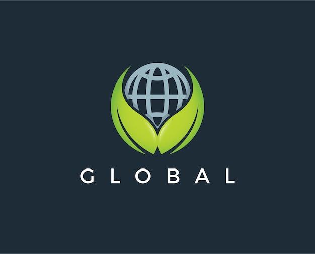 Design de logotipo de vetor de flor de globo abstrato
