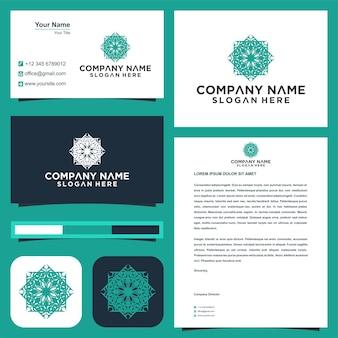 Design de logotipo de vetor de flor de ornamento de mandala e cartão de visita