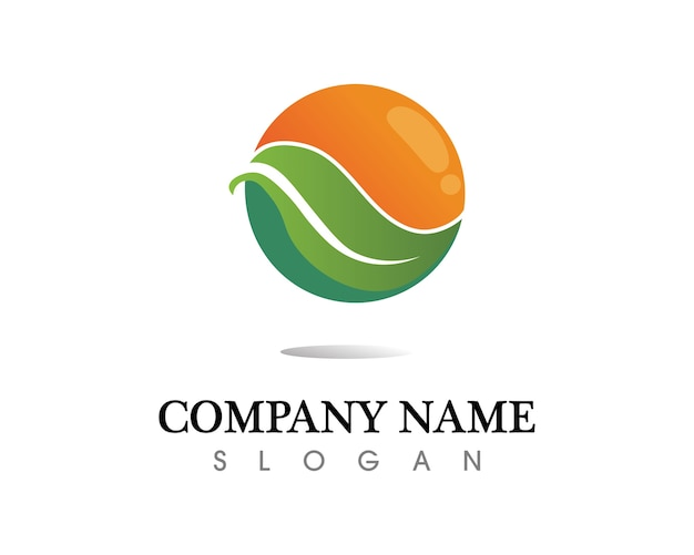 Design de logotipo de vetor de folha de árvore