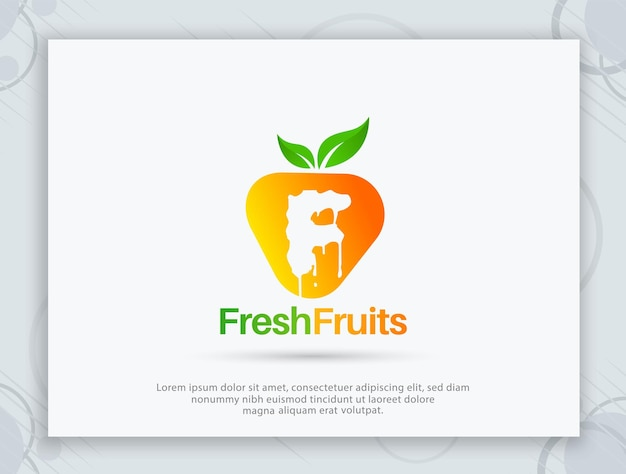 Design de logotipo de vetor de frutas frescas