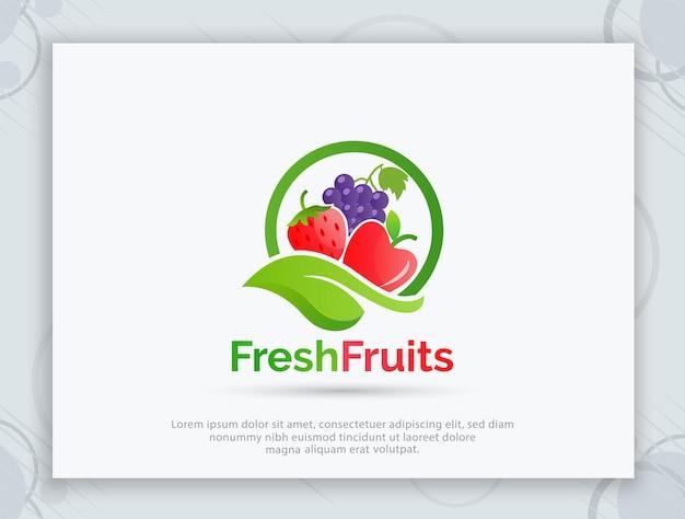 Design de logotipo de vetor de loja de frutas