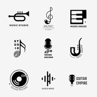Design de logotipo de vetor de música plana editável definido em preto e branco