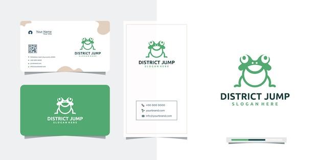 Design de logotipo de vetor de sapo pulando e cartão de visita