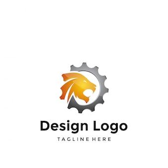 Design de logotipo de vetor, engrenagem e tigre