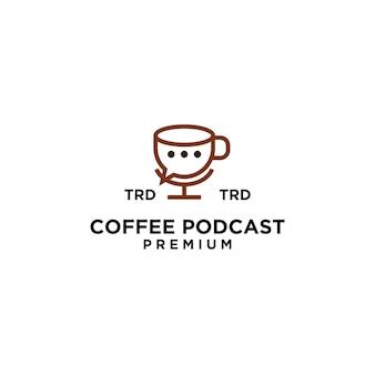 Design de logotipo de vetor preto simples de podcast de caneca premium de café