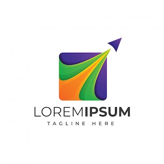 Design de logotipo de viagem colorido premium