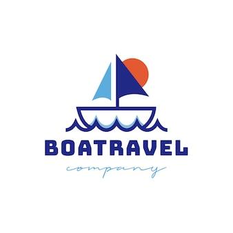 Design de logotipo de viagem de barco