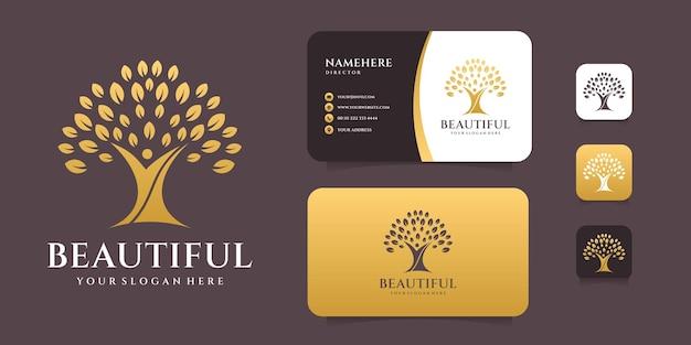 Design de logotipo de vida de árvore com cartão de visita.