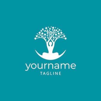 Design de logotipo de yoga da árvore da vida