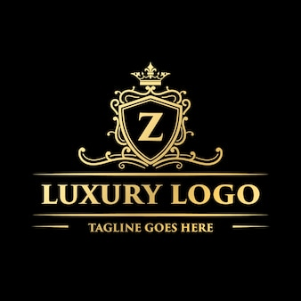 Design de logotipo decorativo floral ouro luxo ornamental monograma vintage com coroa
