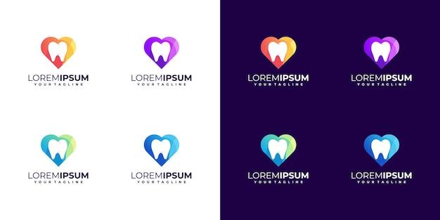 Design de logotipo dental de amor colorido incrível