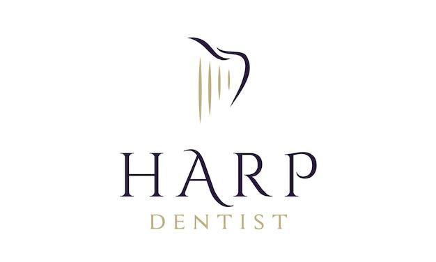 Design de logotipo dental / dentista com harpa e dente