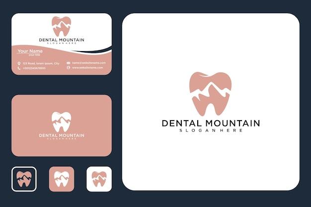 Design de logotipo dental mountain e cartão de visita