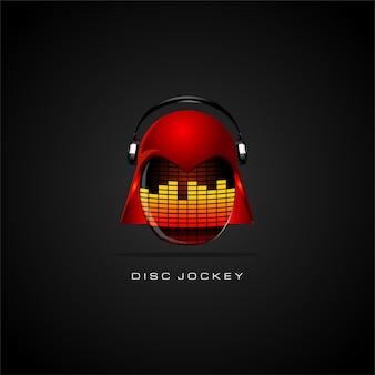 Design de logotipo disc jockey com capacetes e fone de ouvido