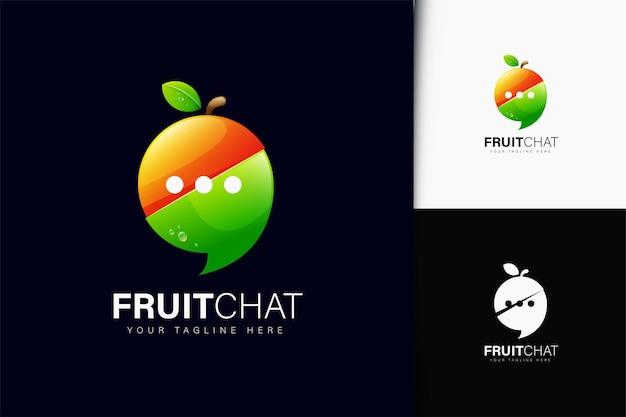 Design de logotipo do bate-papo de frutas com gradiente