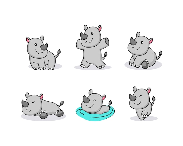 Design de logotipo do bebê fofo hipopótamo mascote
