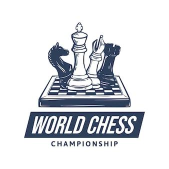 Design de logotipo do campeonato mundial de xadrez com ilustração vintage de xadrez