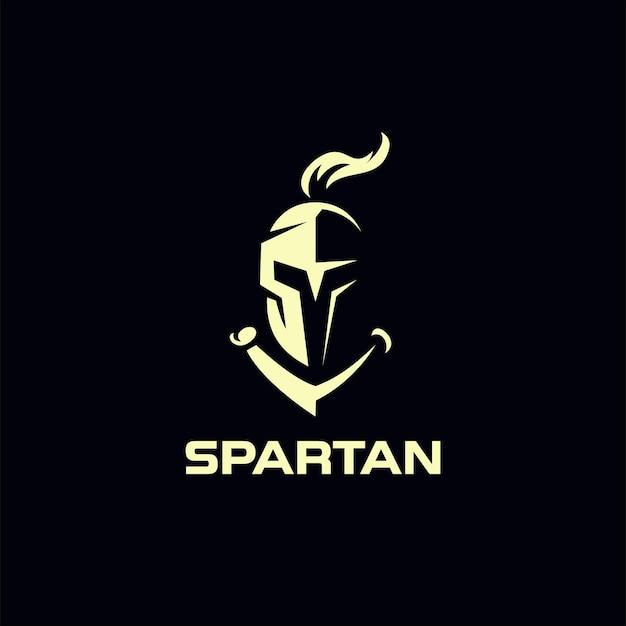 Design de logotipo do capacete de cavaleiro espartano