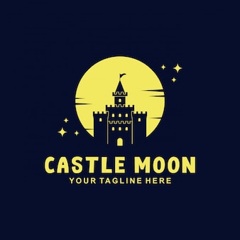 Design de logotipo do castelo com estilo simples