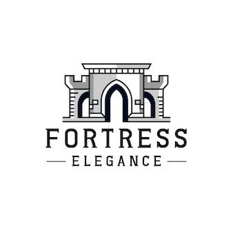 Design de logotipo do castelo linha fortaleza