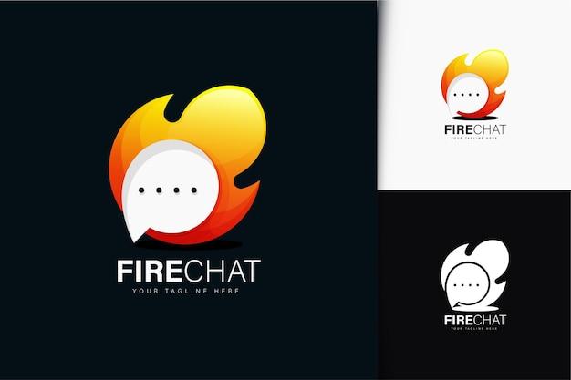 Design de logotipo do chat de fogo com gradiente