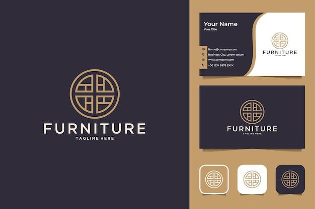 Design de logotipo do círculo de móveis e cartão de visita
