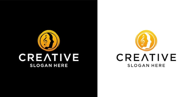 Design de logotipo do círculo feminino de rosto