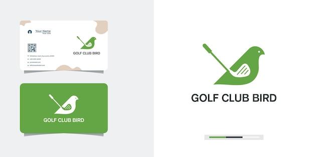 Design de logotipo do clube de golfe em asas de pássaro