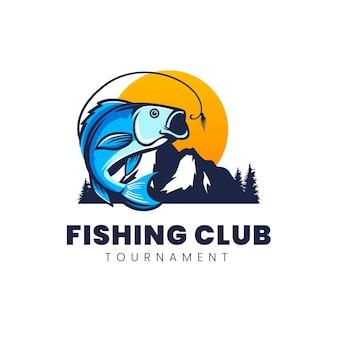 Design de logotipo do clube de pesca no rio