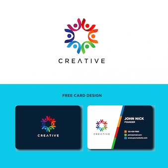 Design de logotipo do cuidado de pessoas da comunidade