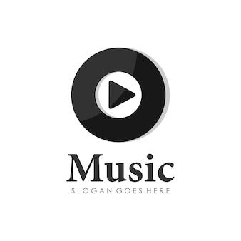 Design de logotipo do disco de música de disco