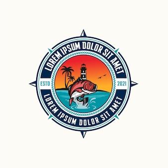 Design de logotipo do emblema de pesca esportiva