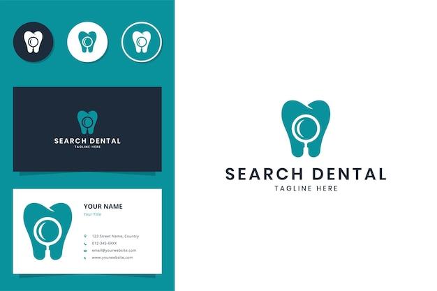 Design de logotipo do espaço negativo de busca odontológica