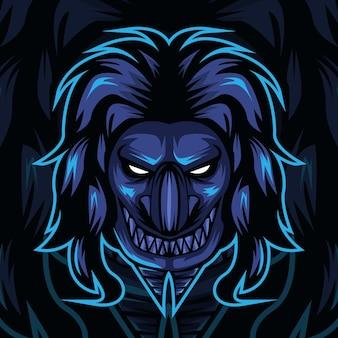 Design de logotipo do esporte de mascote demônio.