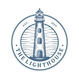 Design de logotipo do farol, ilha com farol