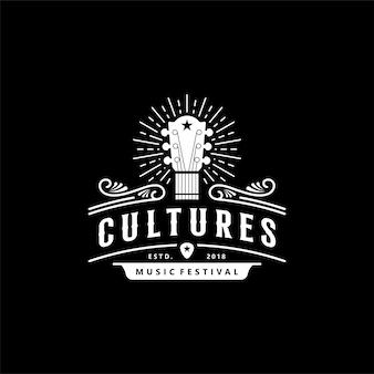 Design de logotipo do festival de cultura musical de guitarra vintage