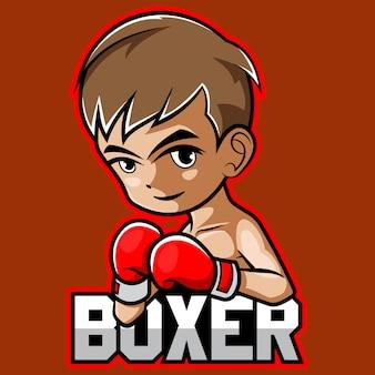 Design de logotipo do garoto boxer esport mascote