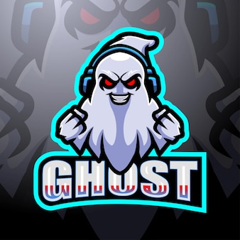 Design de logotipo do ghost gaming mascote esport