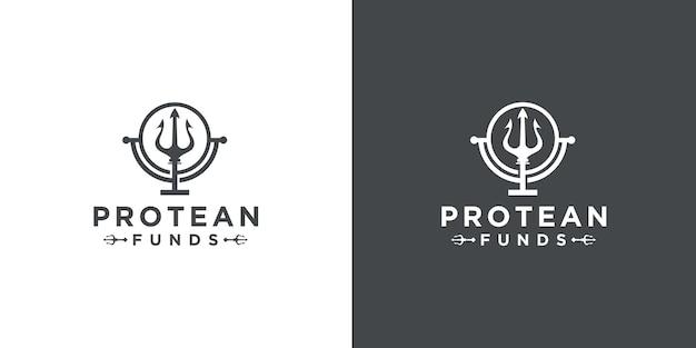 Design de logotipo do globo do deus do mar