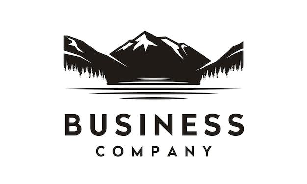 Design de logotipo do lago e montanha