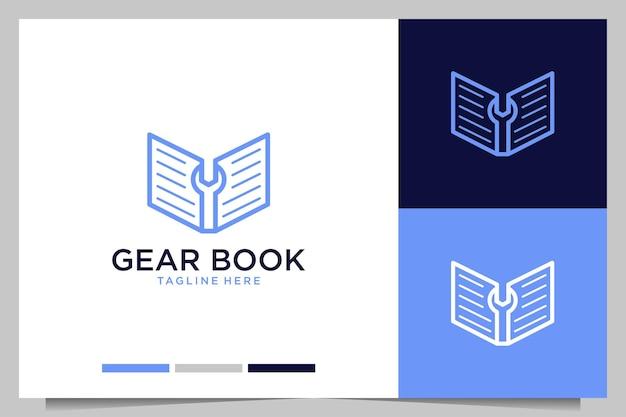 Design de logotipo do livro de engrenagens para educação