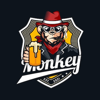 Design de logotipo do macaco mascote
